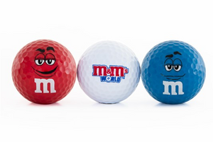 M&M's World Golf Ball Set of 3 Red, White, Blue New