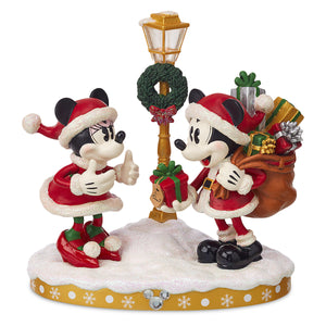 Disney Parks Holiday Cheer Minnie and Mickey Light-Up Figurine New with Box