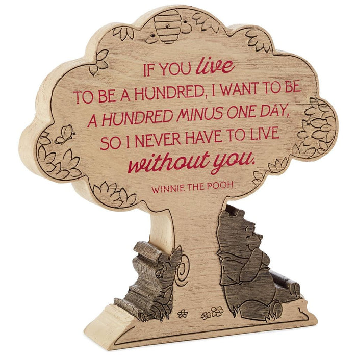 Hallmark Disney Winnie the Pooh Live to Be a Hundred Resin Quote Sign New
