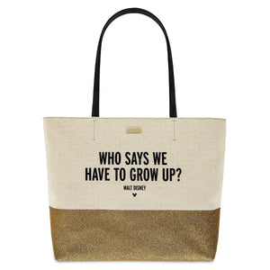 Disney Who Says We Have to Grow Up? Canvas Glitter Tote by Kate Spade New w Tag