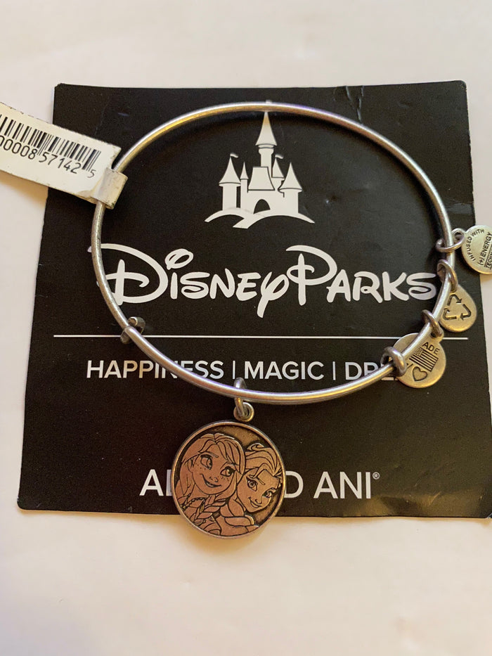 Disney Alex and Ani Parks Frozen Anna and Elsa Bangle Charm Silver finish new