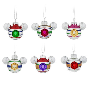 Disney Parks Mickey Mouse Icon Mini Glass Ornament Set New with Box