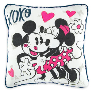 Disney Parks Mickey and Minnie Mouse Sweethearts Kissing Pillow Je t' aime New