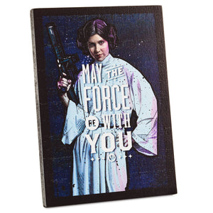 Hallmark Star Wars Princess Leia May the Force be with You Wood Quote Sign New