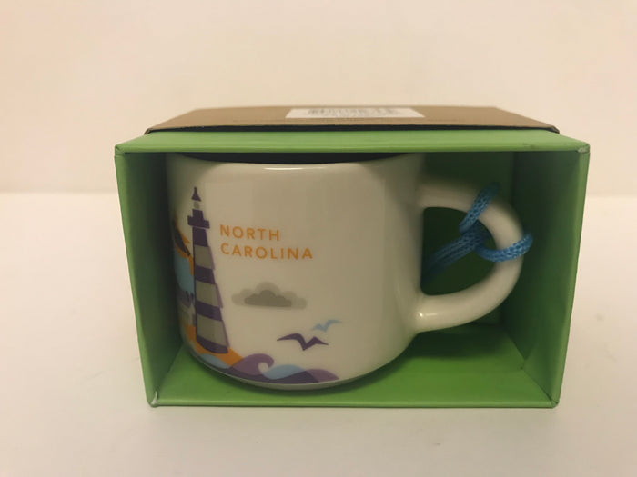 Starbucks Coffee You Are Here North Carolina Ceramic Mug Ornament New with Box