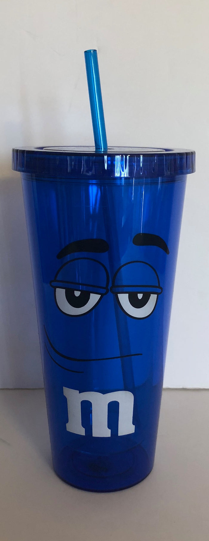 M&M's World Blue Character Big Face Tumbler with Straw New