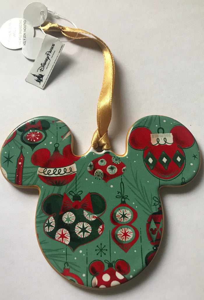 Disney Parks Mickey Icon Plaid Disc Christmas Ornament New with Tag