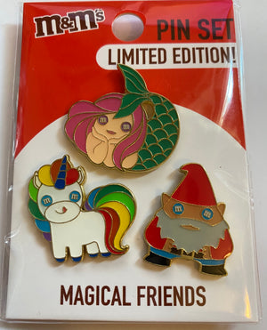 M&M's World Magical Friends Unicorn Gnome Mermaid Limited Pin Set New with Card
