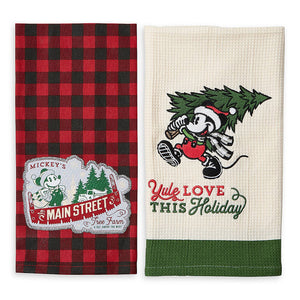 Disney Parks Yuletide Farmhouse Mickey Holiday Kitchen Towel Set New with Tags