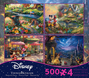 Disney Kinkade Alice Beauty Beast Mickey Minnie 4 in 1 Multipack 500 Pcs Puzzle