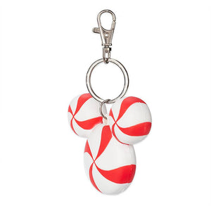Disney Parks Mickey Mouse Icon Peppermint Holiday Keychain New with Tags