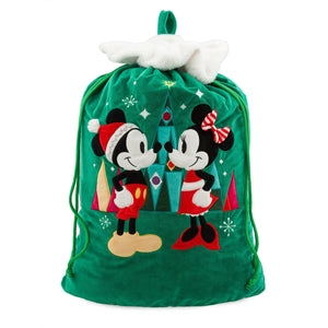 Disney Chear Santa Mickey and Minnie Mouse Holiday Sack New with Tags