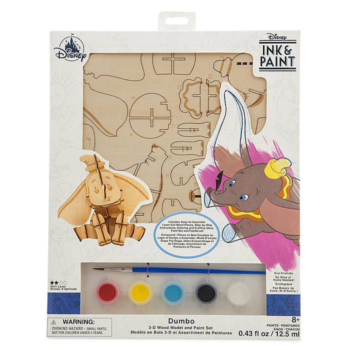Disney Parks Ink & Paint Dumbo 3D Wood Model and Paint Set New Sealed