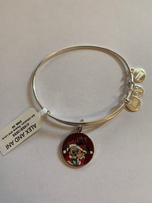 Disney Alex and Ani Parks Mickey Minnie Love Holiday Bangle Bracelet Silver New Tags