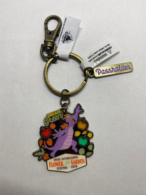 Disney Flower and Garden Festival 2020 Figment Passholder Keychain New with Tag