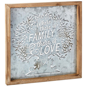 Hallmark Disney Mickey and Minnie Family Wood and Metal Quote Sign New