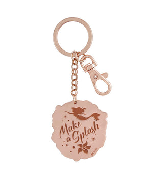 Disney Parks The Little Mermaid Ariel Metal Rose Gold Keychain New with Tags
