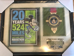 Disney 2013 Marathon 20th Anniversary Framed with Print and Medal New
