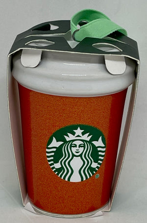 Starbucks 2020 Red Glitter Tumbler Ceramic Christmas Ornament New with Tag