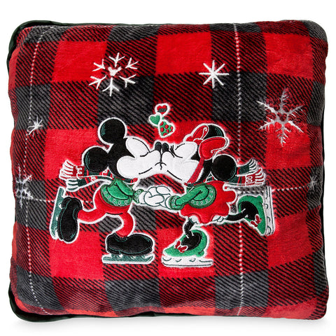 Disney Parks Mickey & Minnie Skating Plush Christmas Pillow New with Tags