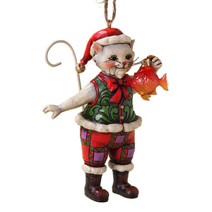 Jim Shore Christmas Cat with Fish Ornament New with Box