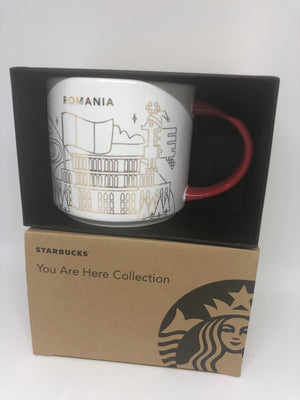 Starbucks You Are Here Romania Holiday Ceramic Coffee Mug New with Box
