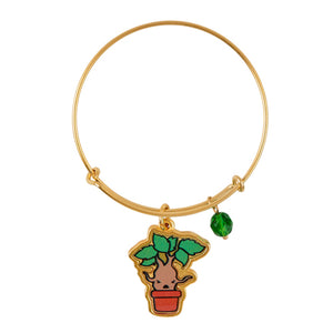 Universal Studios Harry Potter Mandrake Gold Tone Charm Bangle New with Tag