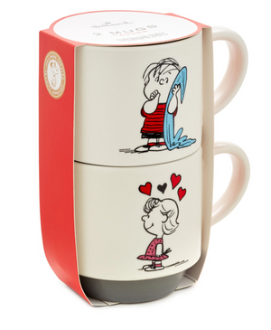 Hallmark Peanuts Linus and Sally Roses Are Red Stacking Mugs Set of 2 New