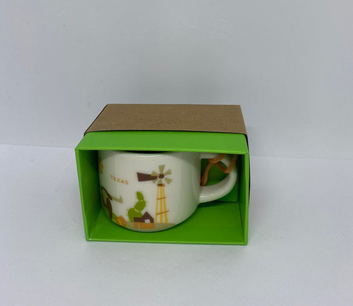 Starbucks Coffee You Are Here Texas Ceramic Mug Ornament New with Box