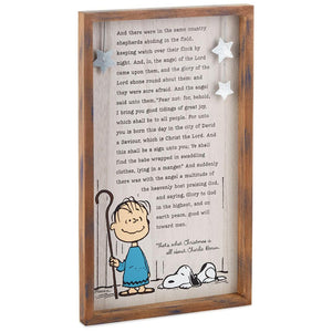 Hallmark Peanuts Linus' Christmas Speech Wood Sign New