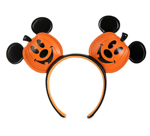 Disney Parks Halloween Mickey Mouse Jack-o'-Lantern Ear Headband New with Tag