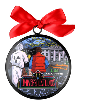 Universal Studios Retro Back to the Future Ceramic Christmas Ornament New w Tag