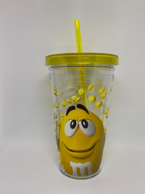 M&M's World Yellow Big Face Lentils Tumbler with Straw New