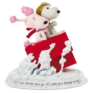Hallmark Peanuts Snoopy Flying Ace and Fifi It's Not Where You Go Figurine New