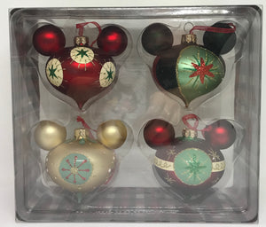 Disney Parks Mickey Mouse Icon Glass Drop Ornament Set Retro New with Box