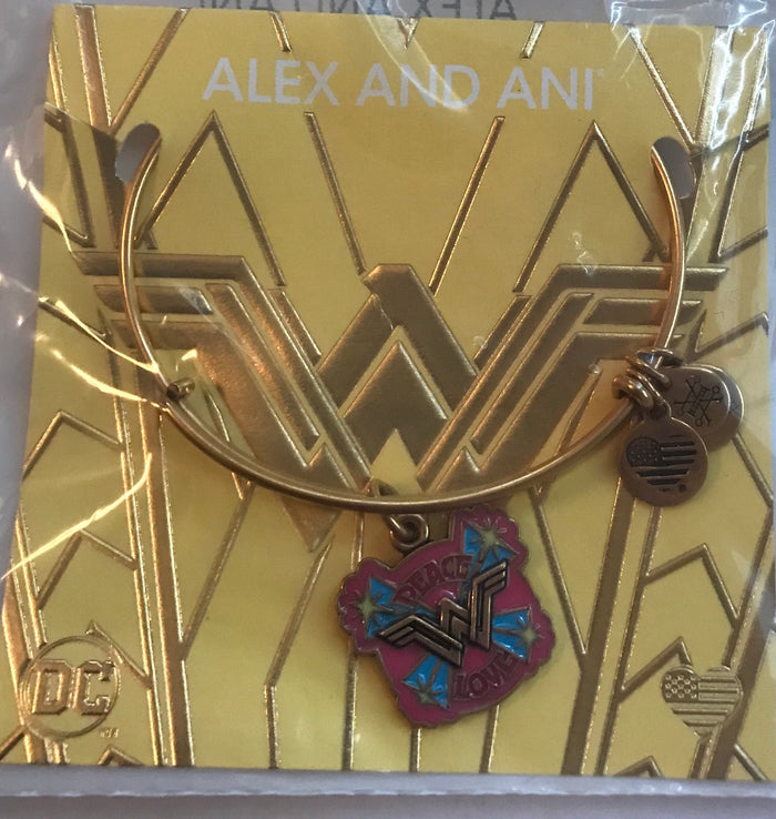Alex and Ani Dc Comics Justice League Wonder Woman Peace Love Charm Bangle Gold