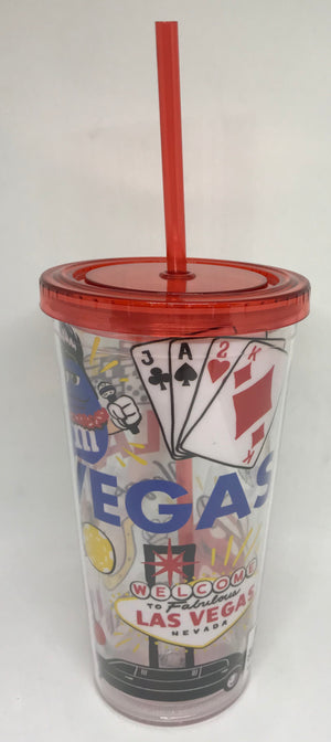 M&M's World Welcome to Fabulous Las Vegas Characters Large Tumbler w Straw New