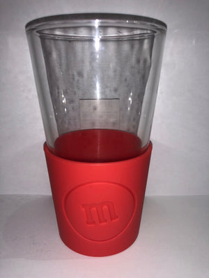 M&M's World Red Silicone Sleeve Pint Glass New