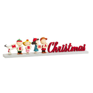 Hallmark Peanuts Gang Merry Christmas Wood Figurine New with Box