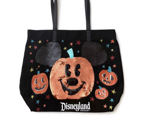 Disney Disneyland Halloween Mickey Pumpkin Sequin Tote New with Tags