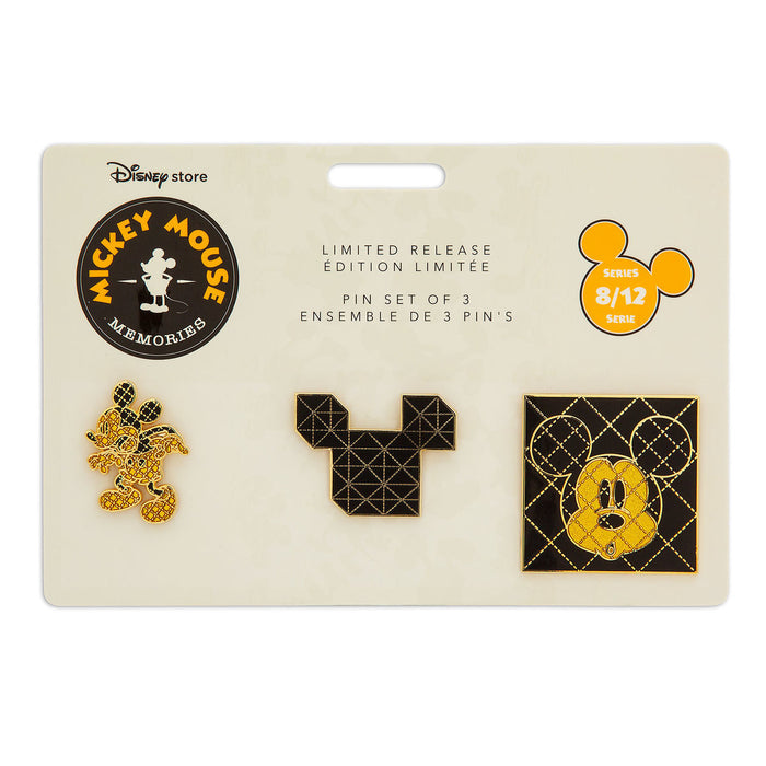 Disney Store Mickey Memories August Pin Set of 3 Limited Release New with Card