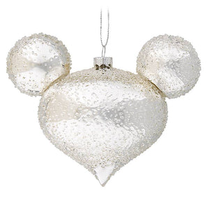 Disney Parks Mickey Mouse Icon Glass Ornament Silver Ice New with Tag