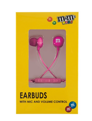 M&M's World Pink Wired Ear Buds with Microphone New with Box