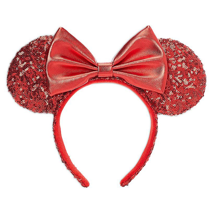 Disney Parks Minnie Mouse Sequined Ear Headband for Adults Red New with Tags