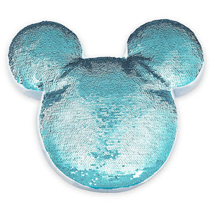 Disney Parks Mickey Icon Reversible Sequin Pillow Arendelle Aqua New with Tag
