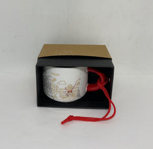 Starbucks Coffee You Are Here Italy Holiday Ceramic Mug Ornament New with Box