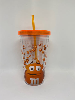 M&M's World Orange Big Face Lentils Tumbler with Straw New