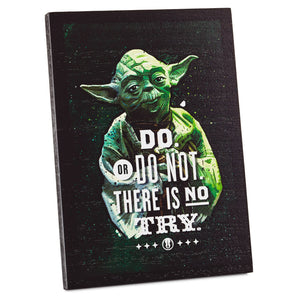 Hallmark Star Wars Yoda Do Do Not There is No Try Wood Quote Sign New