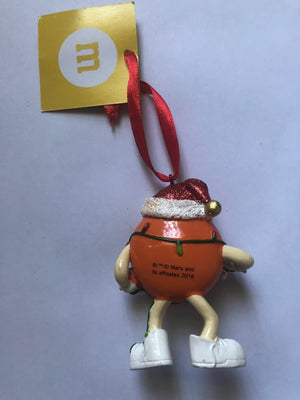 M&M's World Orange Character with Lights Resin Christmas Ornament New with Tag