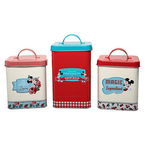 Disney Parks Back in the Day Mickey and Minnie Retro Canister Set New with Box